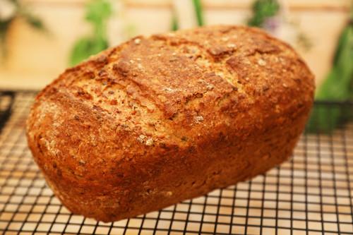 Kleiner Zaubermeister Lily Dinkel-Müsli-Brot fertiges Brot auf dem Kuchengitter