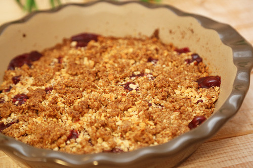 Thermomix Kirsch-Crumble in Pieform