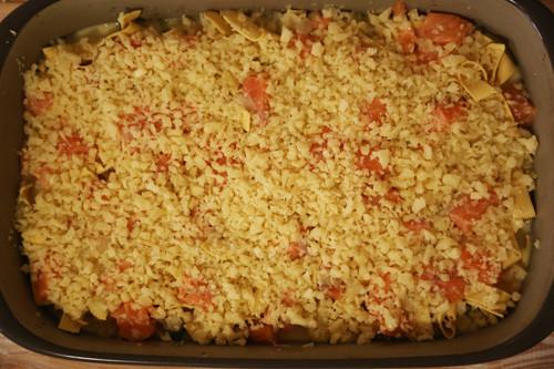 Pampered Chef Brokkoli-Lachsauflauf Käse in Ofenhexe