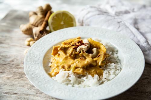 Thermomix Hähnchen-Curry mit Cashew-Kernen