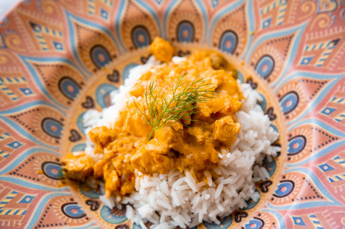 Thermomix pikantes Lachs-Curry von oben