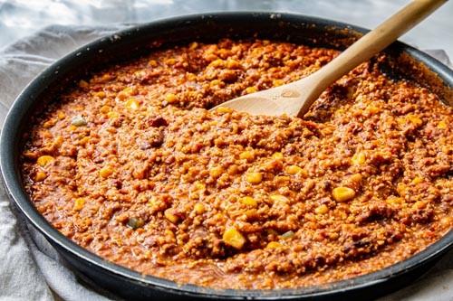 Thermomix Chili sin carne in der Pfanne