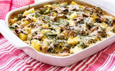 Blumenkohl-Brokkoli-Auflauf mit Spinat und Kartoffeln im Bäker