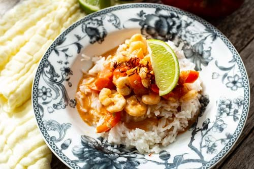Thermomix Garnelen-Curry mit Paprika und Limette von oben