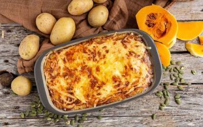 Kürbis-Kartoffel-Gratin mit Thermomix und Ofenhexe